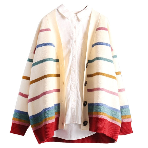 Rainbow Stripe Knit Cardigan,artistic bae review, artisticbae reviews, artistic bae reviews, artsy clothing  - Artistic Bae