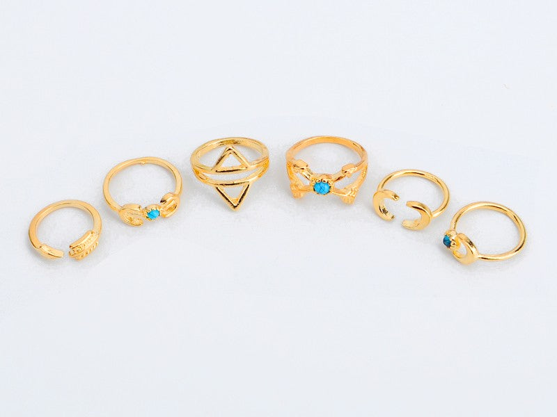 Boho Moon Arrow Ring Set - 6pcs,artistic bae review, artisticbae reviews, artistic bae reviews, artsy clothing  - Artistic Bae