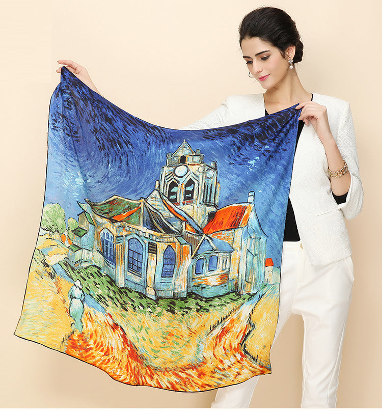 Artistic Oil Painting Silk Scarf,artistic bae review, artisticbae reviews, artistic bae reviews, artsy clothing  - Artistic Bae