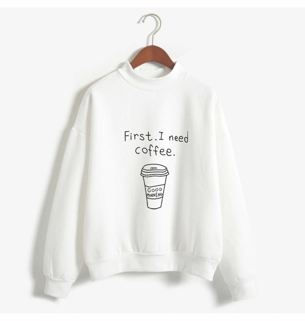 """First I Need Coffee"" Turtleneck Fleece Sweatshirt,artistic bae review, artisticbae reviews, artistic bae reviews, artsy clothing  - Artistic Bae"