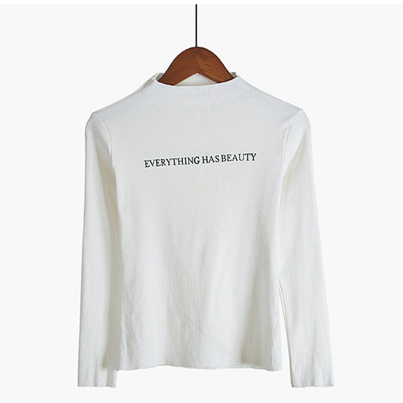 """EVERYTHING HAS BEAUTY"" Basic Print Long Sleeve Top,artistic bae review, artisticbae reviews, artistic bae reviews, artsy clothing  - Artistic Bae"