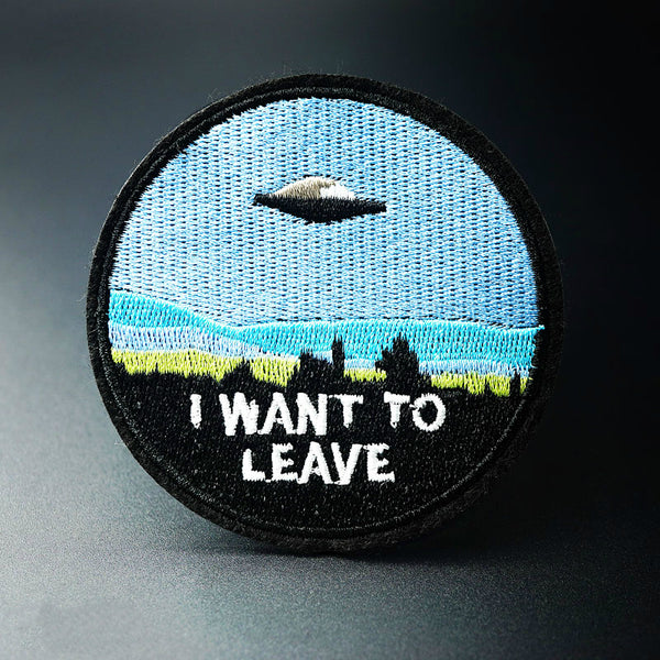 """I WANT TO LEAVE"" UFO Badge,artistic bae review, artisticbae reviews, artistic bae reviews, artsy clothing  - Artistic Bae"
