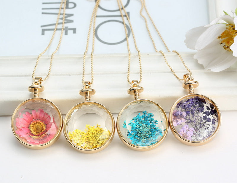 Vintage Glass Dried Flowers Necklaces,artistic bae review, artisticbae reviews, artistic bae reviews, artsy clothing  - Artistic Bae
