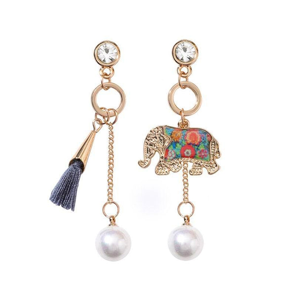 Bohemian Elephant Asymmetry Tassel Earrings,artistic bae review, artisticbae reviews, artistic bae reviews, artsy clothing  - Artistic Bae