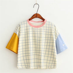 Cute Plaid Patchwork T-Shirt,artistic bae review, artisticbae reviews, artistic bae reviews, artsy clothing  - Artistic Bae