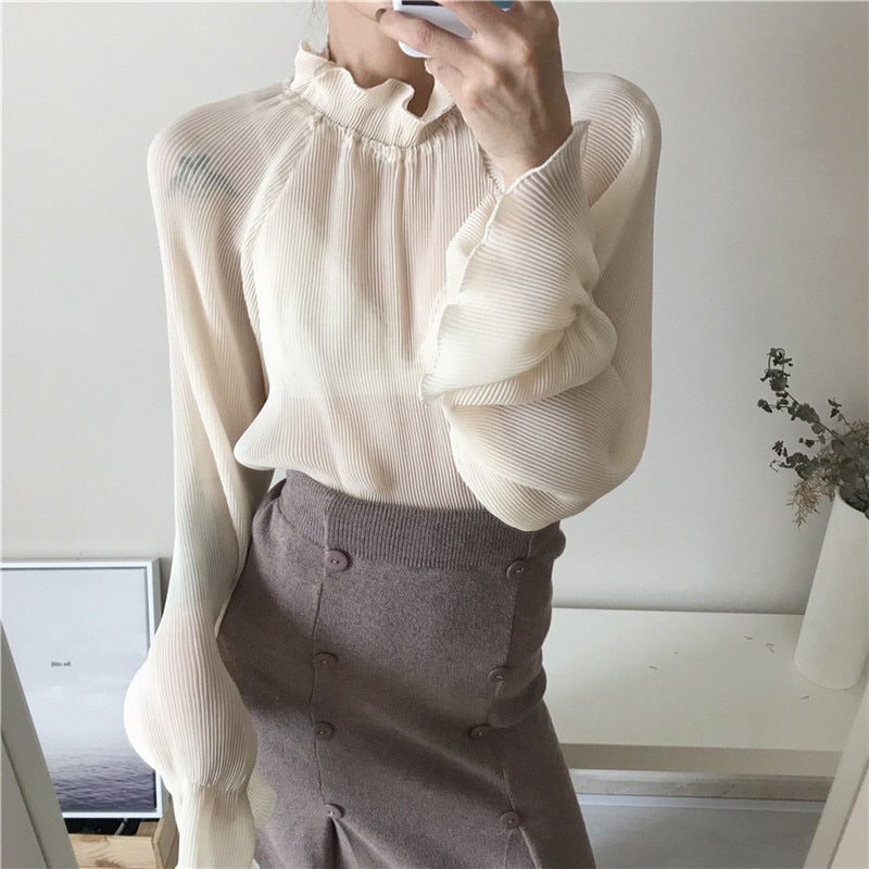 Classy Stand Collar Puff Sleeve Blouse,artistic bae review, artisticbae reviews, artistic bae reviews, artsy clothing  - Artistic Bae