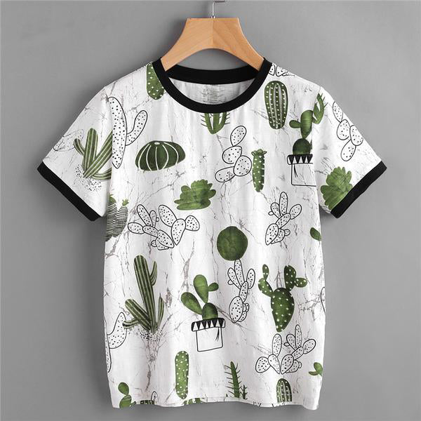 Summer Cactus Short Sleeve Top,artistic bae review, artisticbae reviews, artistic bae reviews, artsy clothing  - Artistic Bae