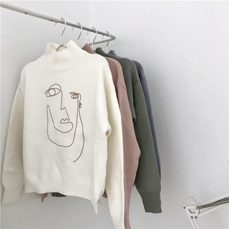 Line Art Embroidery Turtleneck Sweater – Artistic Bae