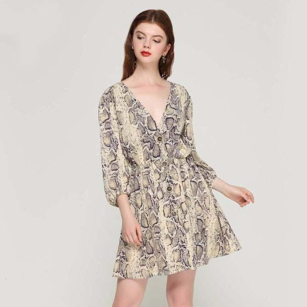Casual Snake Pattern Mini Dress,artistic bae review, artisticbae reviews, artistic bae reviews, artsy clothing  - Artistic Bae