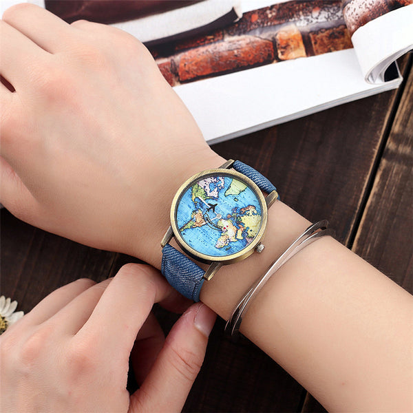 World Map Denim Wristwatch,artistic bae review, artisticbae reviews, artistic bae reviews, artsy clothing  - Artistic Bae