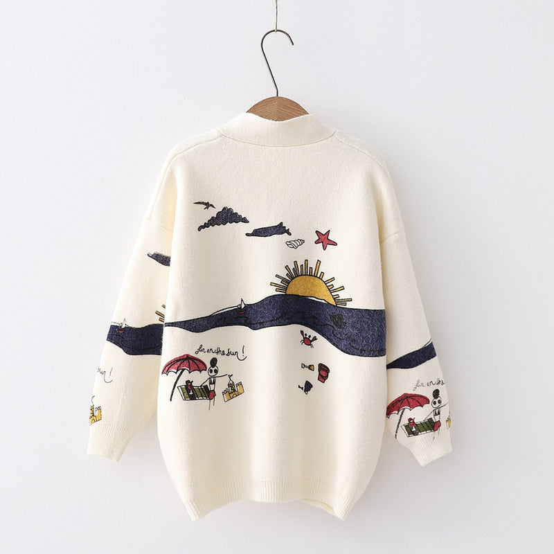 """My Cartoon Dream"" Embroidery Knit Cardigans,artistic bae review, artisticbae reviews, artistic bae reviews, artsy clothing  - Artistic Bae"