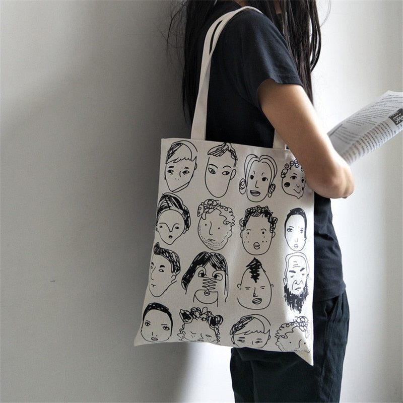 Cartoon Portrait Cotton Bag,artistic bae review, artisticbae reviews, artistic bae reviews, artsy clothing  - Artistic Bae