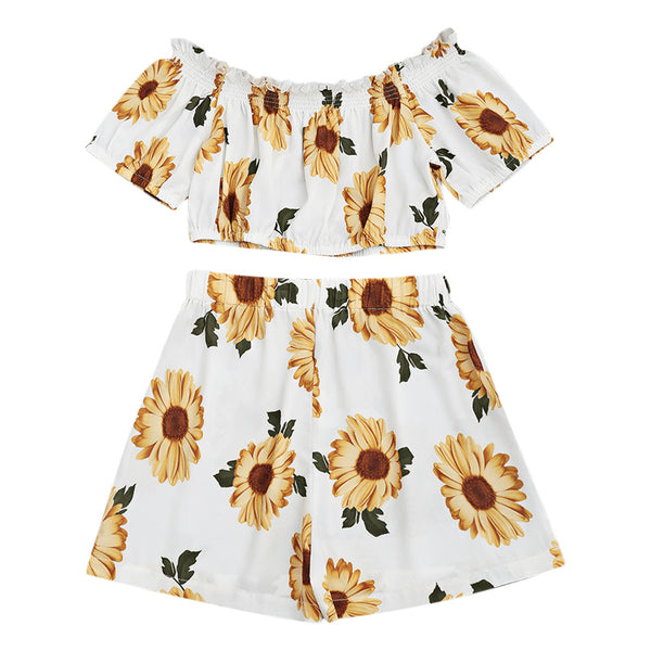 Sunflower Off Shoulder Crop Top Set - White Color,artistic bae review, artisticbae reviews, artistic bae reviews, artsy clothing  - Artistic Bae