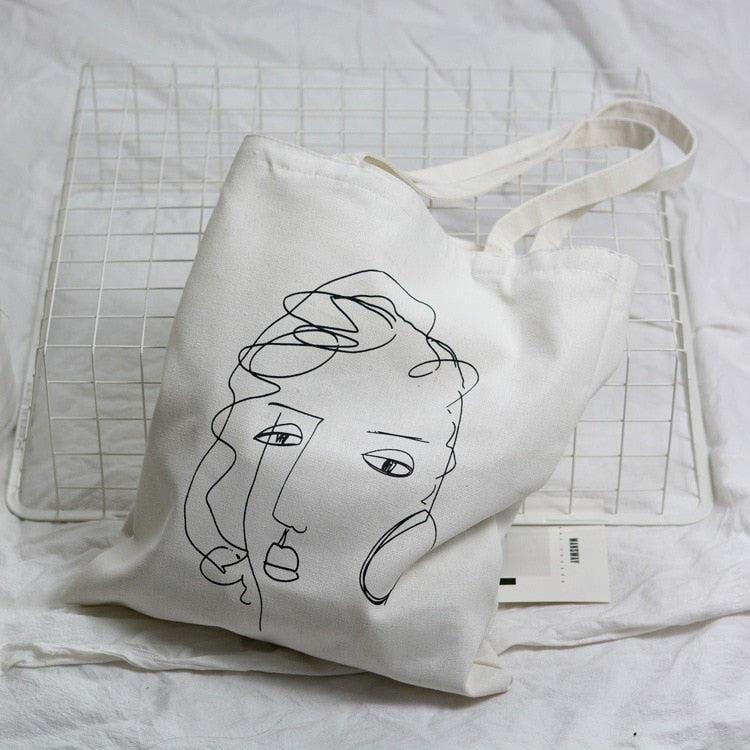 Sketch Face Tote Bag,artistic bae review, artisticbae reviews, artistic bae reviews, artsy clothing  - Artistic Bae