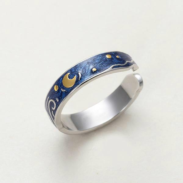 Van Gogh Starry Night 925 Sterling Silver Ring
