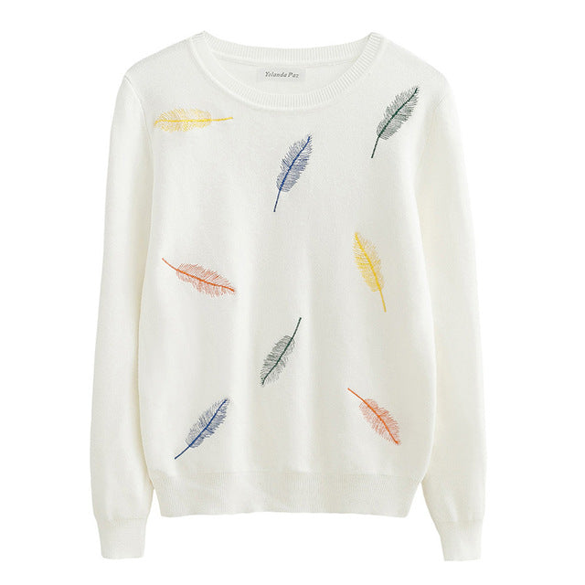 Feather Embroidery Knitted Sweater,artistic bae review, artisticbae reviews, artistic bae reviews, artsy clothing  - Artistic Bae