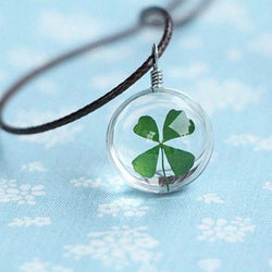 Leaf Clover Glass Necklaces