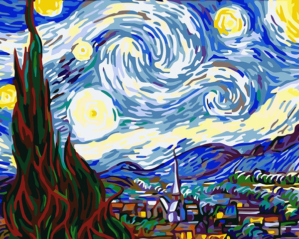 DIY Paint By Numbers - Van Gogh Starry Night,artistic bae review, artisticbae reviews, artistic bae reviews, artsy clothing  - Artistic Bae