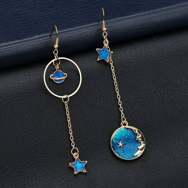 Blue Moon Stars Planet Drop Earrings,artistic bae review, artisticbae reviews, artistic bae reviews, artsy clothing  - Artistic Bae
