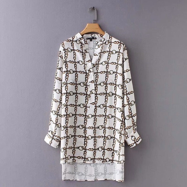 Vintage V-Neck Chain Long Sleeve Shirt
