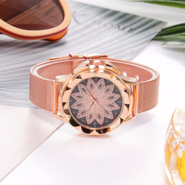 Rose Gold Floral Rhinestone Watch