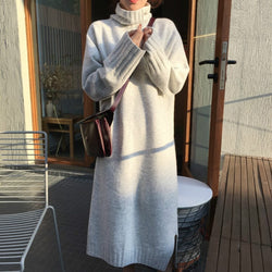 Minimal Knitted Turtleneck Long Dress,artistic bae review, artisticbae reviews, artistic bae reviews, artsy clothing  - Artistic Bae