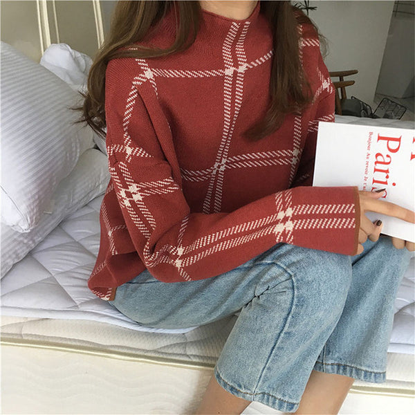 Minimal Plaid Turtleneck Sweater,artistic bae review, artisticbae reviews, artistic bae reviews, artsy clothing  - Artistic Bae