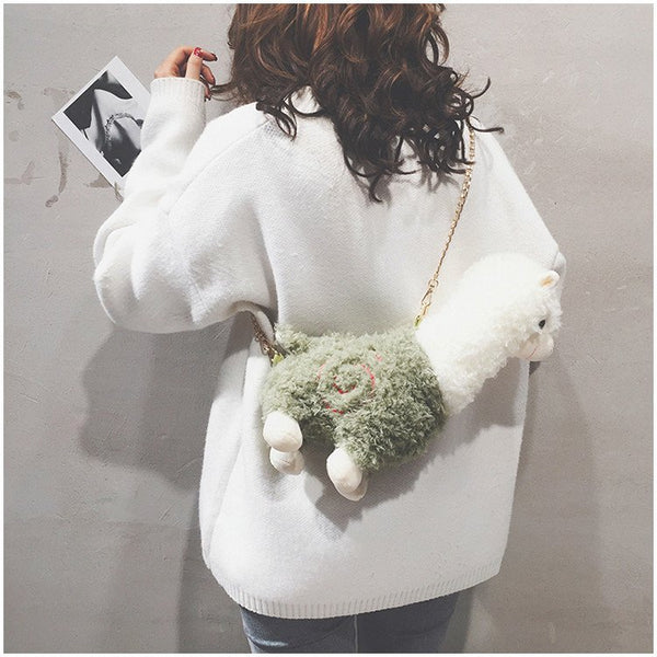 Plush Alpaca Shoulder Bag