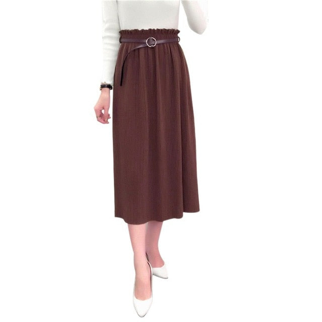 Vintage High Waist Knitted A-Line Skirt