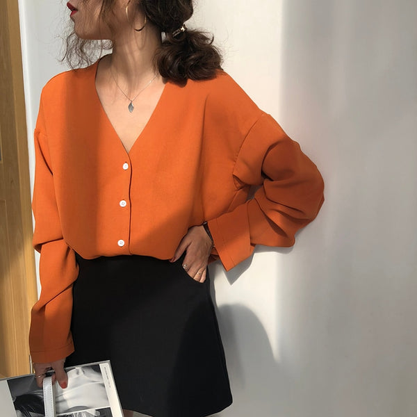 Single Breasted V-Neck Chiffon Blouse