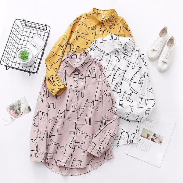 Cute Cat Print Loose Casual Shirt,artistic bae review, artisticbae reviews, artistic bae reviews, artsy clothing  - Artistic Bae