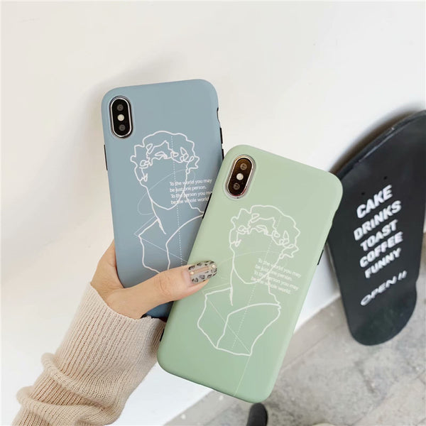 Simple Portrait Woman Lines iPhone Cases