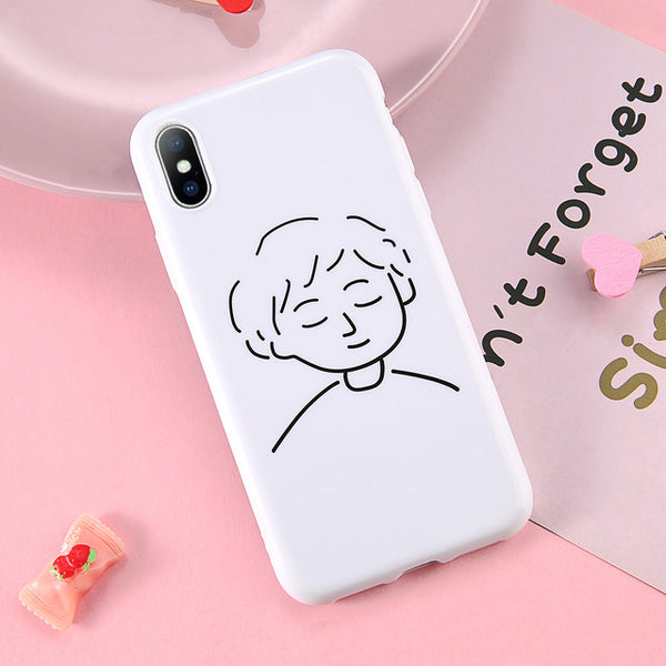 Simple Boy & Girl Art iPhone Cases