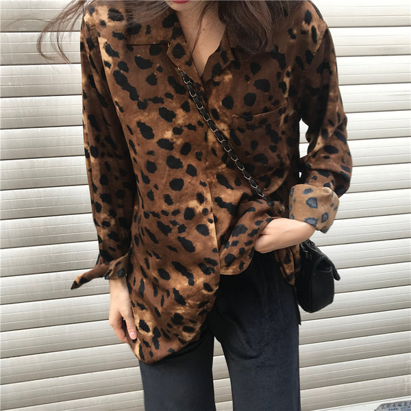 Retro Leopard Loose Blouse