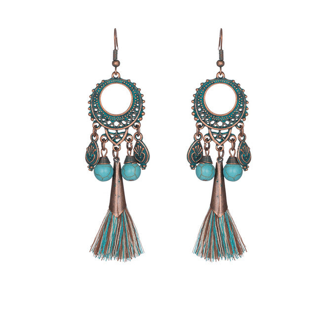 Ethnic Feather Tassel Earrings,artistic bae review, artisticbae reviews, artistic bae reviews, artsy clothing  - Artistic Bae