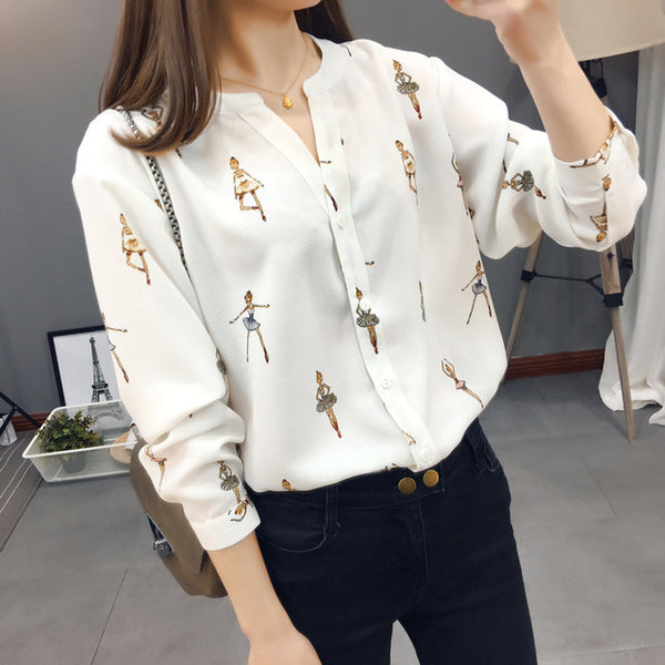 Artistic Ballerina Print Slim Cut Shirt,artistic bae review, artisticbae reviews, artistic bae reviews, artsy clothing  - Artistic Bae