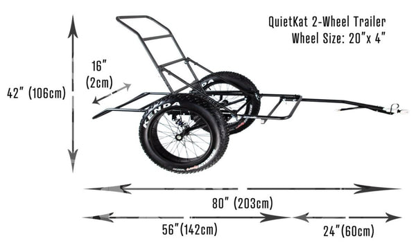 The cargo trailer - 2 wheel with its measurements. White background. Side profile.