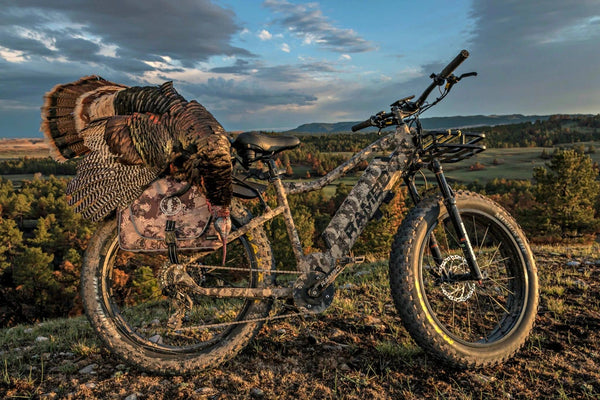 The rebel truetimber at the top of a hill with an eagle on the rear rack. Side profile.