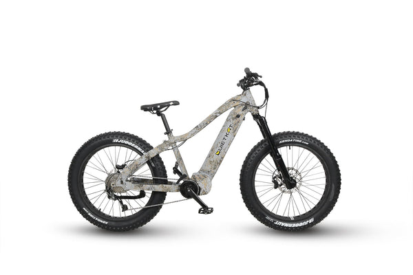 Quietkat ebike painted camo on a white background side profile, facing right