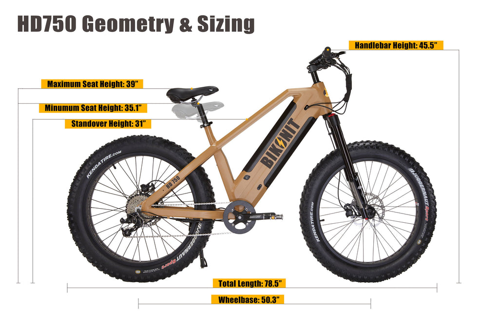 Bikonit Warthog HD 750 Electric Hunting Bike Sizing