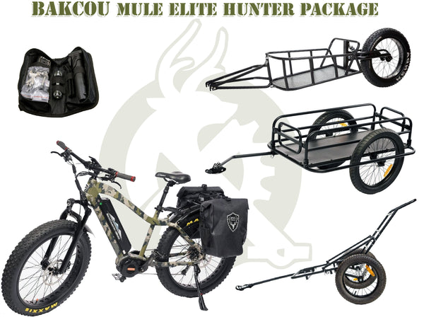 Elite package with the mule, repair kit, and trailers. White background.