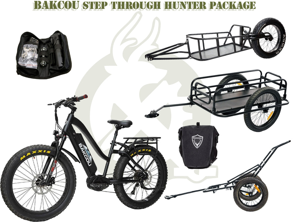 Bakcou Step Through package with the ebike, saddle bags, trailers, and repair kit. White background.