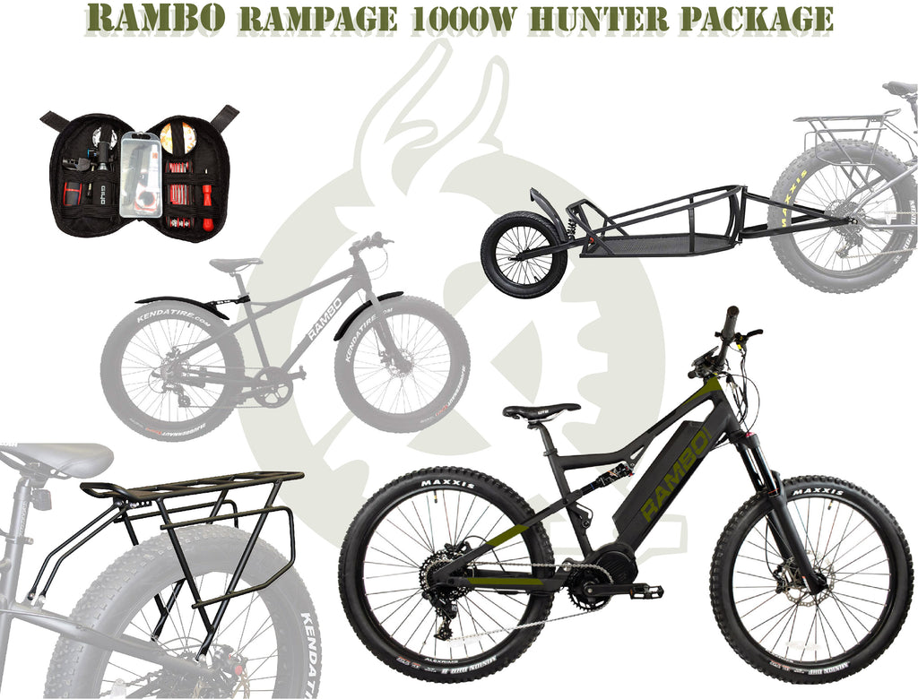 The rampage package with the ebike, single wheel cart, rear rack, fenders, and portable tool kit. White background with ebike generation logo.