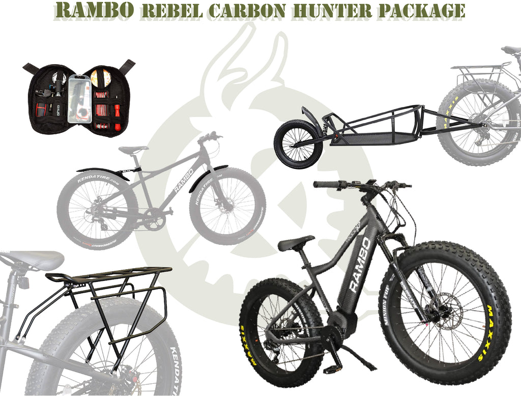 The rebel carbon package with the ebike, single wheel cart, rear rack, fenders, and portable tool kit. White background with ebike generation logo.