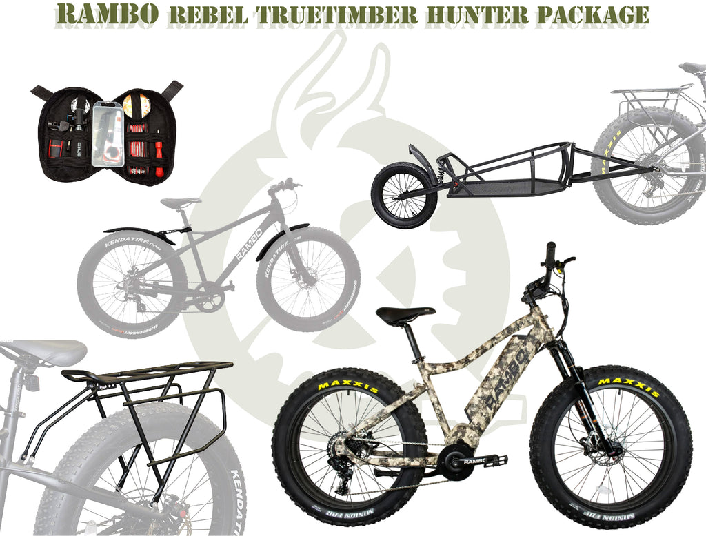 The rebel truetimber package with the ebike, single wheeled cart, rear rack, fenders, and portable tool kit. White background with the ebike generation logo.