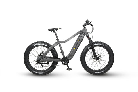 2020 Apex Electric Hunting Bike in color charcoal on white background. Side profile facing right