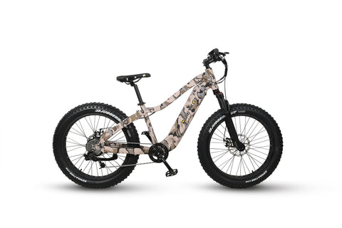 2020 Ranger electric hunting bike with camo paint job. Image is on white background and is a side profile facing right