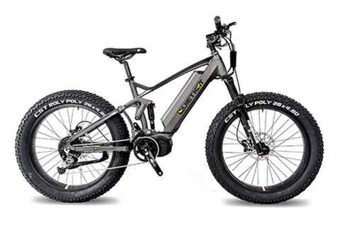 RidgeRunner Full Suspension Fat Tire eBike.  Side profile facing right on white background