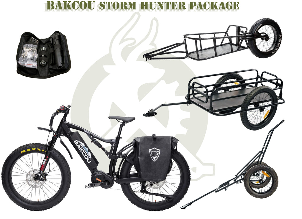 Bakcou Storm package with the Storm ebike, repair kit, saddle bags, and trailers. White background.