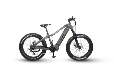 Warrior Electric Bike for Hunting in charcoal paint. Image is on white background, eBike side profile facing right